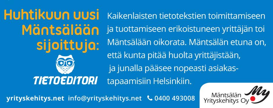 Kuukauden sijoittuja Mäntsälässä, huhtikuussa 2019: Tietoeditori