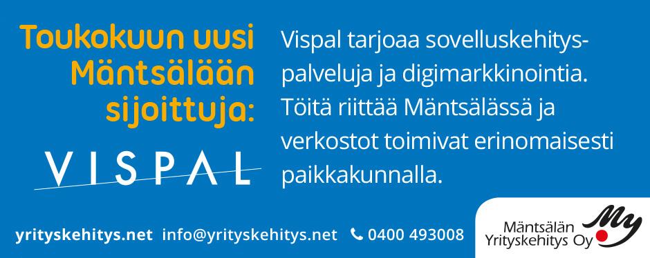 Kuukauden sijoittuja Mäntsälässä, toukokuussa 2019: Vispal