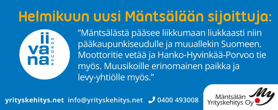 Kuukauden Mäntsälään sijoittuja helmikuu 2020: Iivana Records