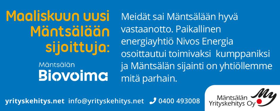Kuukauden Mäntsälään sijoittuja helmikuu 2020: Mäntsälän Biovoima